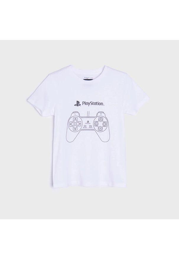 Sinsay - Koszulka Playstation - Biały. Kolor: biały