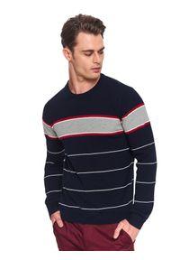 TOP SECRET - Sweter strukturalny. Okazja: na co dzień. Kolor: niebieski. Materiał: jeans. Wzór: paski. Sezon: zima. Styl: klasyczny, elegancki, casual