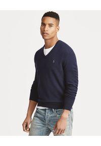 Ralph Lauren - RALPH LAUREN - Sweter z wełny merino. Kolor: niebieski. Materiał: wełna. Wzór: haft, aplikacja. Styl: klasyczny