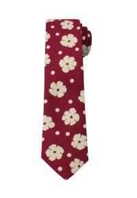 Oryginalny Krawat - 6 cm - Alties, Czerwień w Duże Kwiaty. Kolor: czerwony. Materiał: tkanina. Wzór: kwiaty. Styl: klasyczny, wizytowy, elegancki
