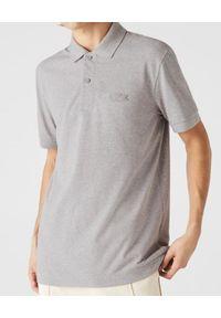 Lacoste - LACOSTE - Szary t-shirt polo ze ściągaczami. Okazja: do pracy. Typ kołnierza: polo. Kolor: szary. Materiał: jeans, bawełna. Styl: elegancki