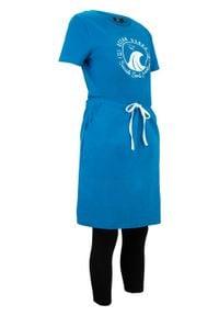 Sukienka shirtowa + legginsy (2 części), bawełna organiczna bonprix niebieski morski - czarny. Kolor: niebieski. Materiał: bawełna. Styl: sportowy