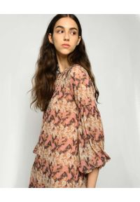 Pinko - PINKO - Krótka sukienka z kwiatowym printem Scintille. Kolor: brązowy. Materiał: wiskoza. Wzór: nadruk, kwiaty. Sezon: wiosna. Długość: mini