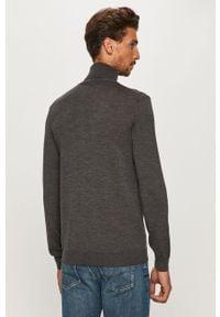 Szary sweter JOOP! długi, z golfem, z długim rękawem