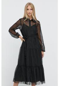 TwinSet - Twinset - Sukienka. Okazja: na co dzień. Kolor: czarny. Materiał: tkanina, materiał. Długość rękawa: długi rękaw. Typ sukienki: proste. Styl: casual