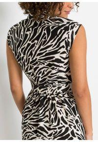 Sukienka koszulowa z lnu z nadrukiem bonprix czarny w paski zebry. Kolor: czarny. Materiał: len. Wzór: nadruk, motyw zwierzęcy, paski. Typ sukienki: koszulowe