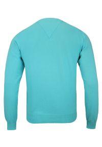 Niebieski sweter Adriano Guinari biznesowy, do pracy, z dekoltem w serek