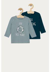 Niebieska koszulka z długim rękawem Name it z okrągłym kołnierzem, na co dzień, casualowa