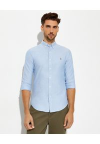 Ralph Lauren - RALPH LAUREN - Jasnoniebieska koszula Oxford Slim Fit. Typ kołnierza: polo. Kolor: niebieski. Materiał: bawełna. Długość rękawa: długi rękaw. Długość: długie. Wzór: haft. Styl: klasyczny