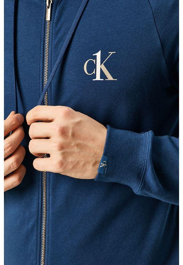 Niebieska bluza rozpinana Calvin Klein Underwear z kapturem, raglanowy rękaw