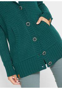 Sweter rozpinany z kapturem bonprix głęboki zielony. Typ kołnierza: kaptur. Kolor: zielony