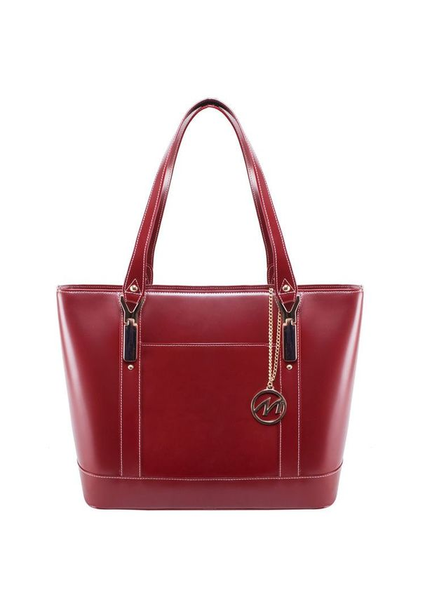 MCKLEIN - Ekskluzywna skórzana torebka damska czerwona Mcklein Arya. Kolor: czerwony. Wzór: paisley. Materiał: skórzane. Styl: biznesowy, klasyczny. Rodzaj torebki: na ramię