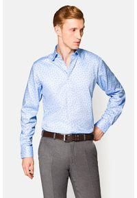 Lancerto - Koszula Niebieska w Kotwice Lidia. Kolor: niebieski. Materiał: bawełna, wełna. Wzór: haft