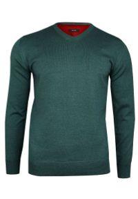 Zielony sweter MM Classic z dekoltem w kształcie v, klasyczny, na spotkanie biznesowe