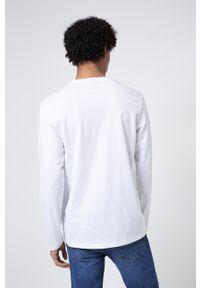 Hugo - Longsleeve. Okazja: na co dzień. Kolor: biały. Materiał: bawełna, dzianina. Długość rękawa: długi rękaw. Wzór: gładki. Styl: casual