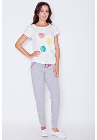 Katrus - Szaro-różowe Dresowe Spodnie na Gumie z Kontrastowymi Troczkami. Kolor: różowy, szary, wielokolorowy. Materiał: dresówka, guma