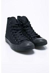 Czarne wysokie trampki Converse z cholewką, z okrągłym noskiem, na sznurówki
