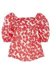 Bluzka zakładana przez głowę bonprix biel wełny - czerwony w roślinny wzór. Kolor: biały. Materiał: wełna
