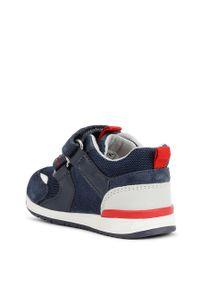 Niebieskie buty sportowe Geox na rzepy, z cholewką, z okrągłym noskiem