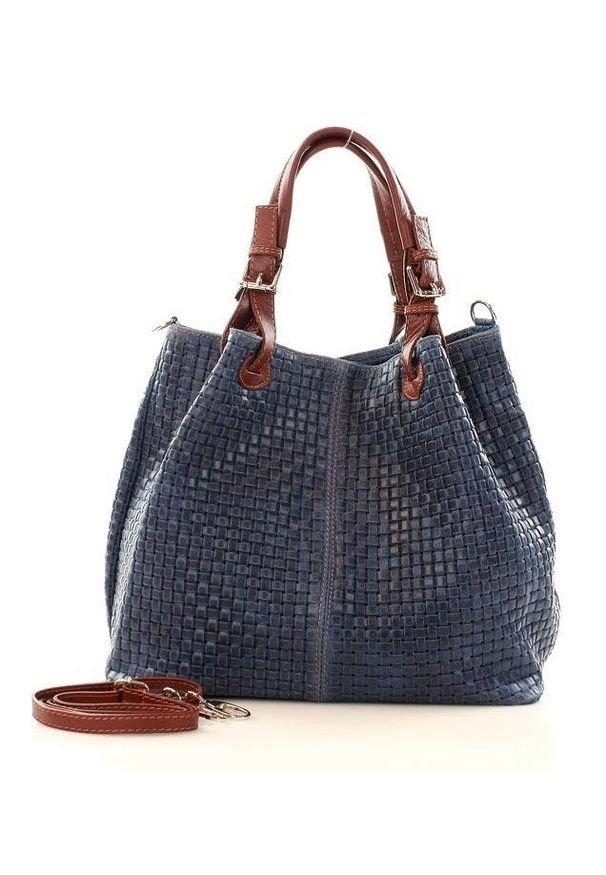GENUINE LEATHER - Granatowa Włoska Torebka Typu Shopper - Carina Treccia. Kolor: niebieski