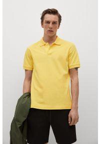 Żółta koszulka polo Mango Man krótka, na co dzień, casualowa
