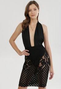Born2be - Czarna Sukienka Yesdalar. Kolor: czarny. Materiał: koronka. Długość rękawa: na ramiączkach. Wzór: kwiaty, koronka, geometria, aplikacja. Długość: mini
