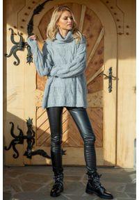 Fobya - Szary Obszerny Sweter z Golfem w Warkocze. Typ kołnierza: golf. Kolor: szary. Materiał: akryl, wełna