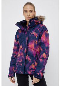 columbia - Columbia - Kurtka puchowa. Kolor: fioletowy. Materiał: puch. Długość rękawa: raglanowy rękaw