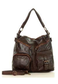 Brązowa torebka klasyczna na ramię, skórzana