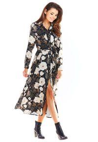 Brązowa sukienka wizytowa Awama w kwiaty, maxi, szmizjerki