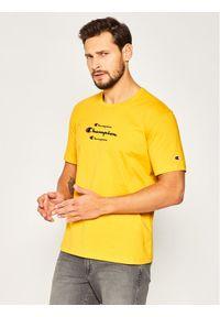 Champion T-Shirt Triple Script 214330 Żółty Regular Fit. Kolor: żółty