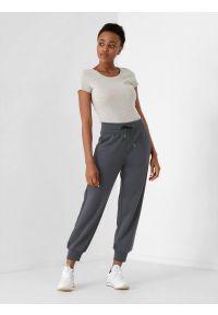 4f - Spodnie dresowe joggery damskie. Kolor: szary. Materiał: dresówka