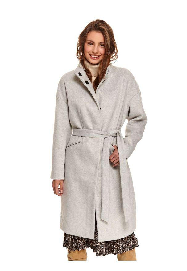 TOP SECRET - Elegancki płaszcz ze stójką z dodatkiem wełny. Typ kołnierza: kołnierzyk stójkowy. Kolor: szary. Materiał: wełna. Sezon: zima. Styl: elegancki