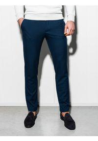 Ombre Clothing - Spodnie męskie chino P832 - granatowe - XXL. Kolor: niebieski. Materiał: wiskoza, poliester, tkanina, elastan. Styl: elegancki, klasyczny