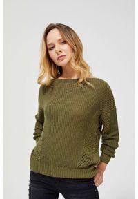 Sweter MOODO w ażurowe wzory, długi