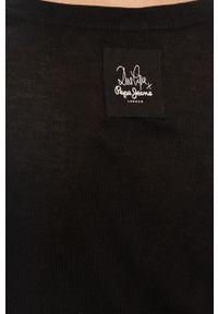 Czarna bluzka z długim rękawem Pepe Jeans gładkie, na co dzień, casualowa