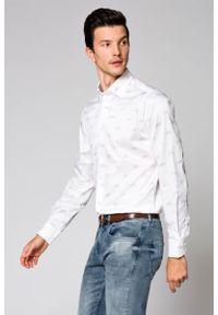 Biała koszula Lancerto elegancka, z nadrukiem, na co dzień