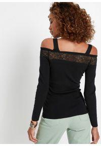 Sweter cold-shoulder z koronką bonprix czarny. Kolor: czarny. Materiał: koronka. Wzór: koronka