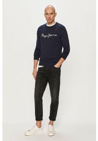Niebieski sweter Pepe Jeans raglanowy rękaw, z aplikacjami, casualowy