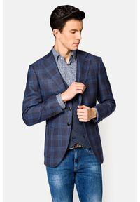 Lancerto - Marynarka Granatowa w Kratę Compton. Kolor: niebieski. Materiał: jeans, len, wełna, tkanina, poliester. Wzór: nadruk