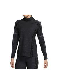 Koszulka damska treningowa Nike Pro Hyperwarm CU7004. Typ kołnierza: kołnierzyk stójkowy. Materiał: poliester, skóra, materiał. Długość rękawa: długi rękaw. Długość: długie. Sport: fitness