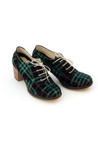 Zapato - sznurowane półbuty na 6 cm słupku - skóra naturalna - model 251 - kolor czarno-zielona kratka. Kolor: wielokolorowy, zielony, czarny. Materiał: skóra. Wzór: kratka. Obcas: na słupku