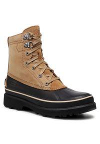 Brązowe buty zimowe sorel casualowe, z cholewką, na co dzień
