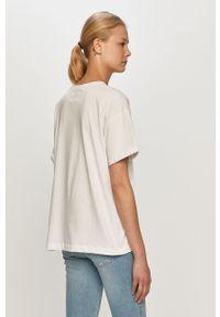 Biała bluzka na co dzień, casualowa, z nadrukiem