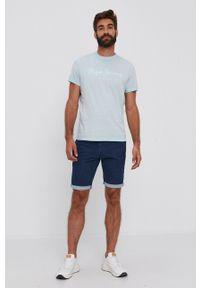 Pepe Jeans - T-shirt bawełniany West Sir. Kolor: turkusowy. Materiał: bawełna. Wzór: nadruk
