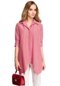 MOE - Asymetryczna Luźna Koszula w Czerwoną Drobną Kratkę. Kolor: czerwony. Materiał: poliester, wiskoza, elastan. Wzór: kratka