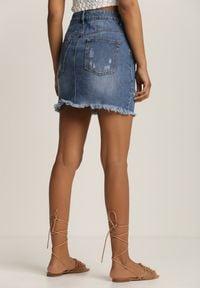Renee - Niebieska Spódnica Paphine. Kolor: niebieski. Materiał: jeans. Wzór: aplikacja. Styl: wakacyjny