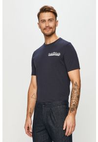 Niebieski t-shirt Scotch & Soda na co dzień, z nadrukiem