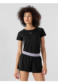 4f - Koszulka do biegania damska. Kolor: czarny. Materiał: skóra, włókno, dzianina. Długość rękawa: raglanowy rękaw. Sport: fitness, bieganie