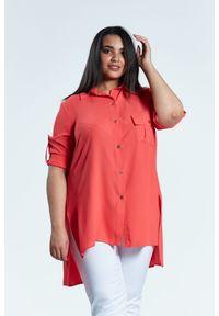Pomarańczowa koszula Moda Size Plus Iwanek plus size, na wiosnę